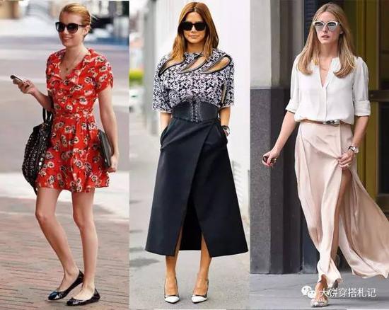 虽然并不绝对,但鞋子的形状与裙子的膨胀感做匹配也有得讲究,比如: