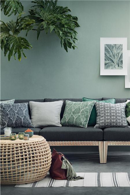 H&M 树叶图案靠枕套