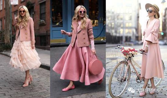 当然,上面的太腻味,想弱化伞裙的太甜美?用中性色去中和或者选择偏裸活着藕荷色都不错。