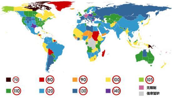 图注:世界各国高速公路最高时速限制(速度单位:km/h)