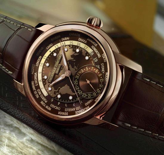 康斯登典雅自产机芯世界时区腕表