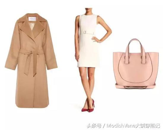 驼色大衣:Maxmara 裙装:Boss Hugo Boss 包包:Victoria Beckham