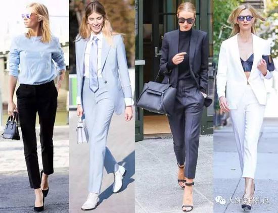 这几年顺应着当下的复古风潮,很多设计师都会在烟管裤上增加中缝设计,还原到七八十年代妈妈们常穿的西裤效果。