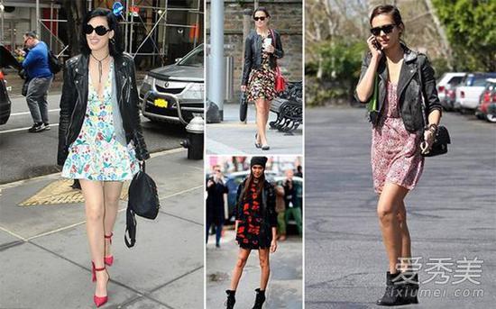 对于还离不开小外套的季节,你可以试试。短夹克和印花长裙的搭配, 只要简单的搭配一双平跟鞋,就能轻易穿出时髦感。