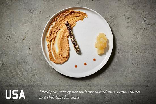 梨,烤坚果能量棒,花生酱和辣椒柠檬汁