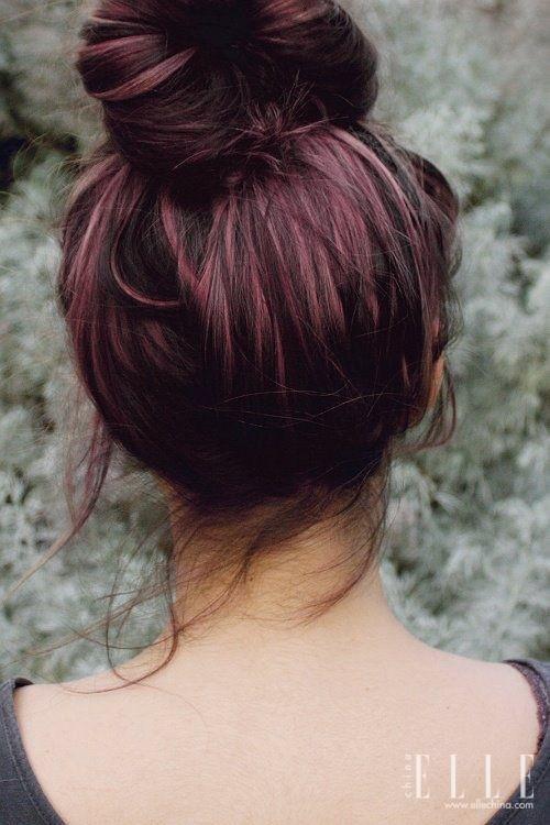 染发丸子头