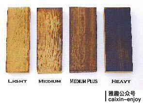 不同炙烤程度的橡木,可想其对颜色的影响