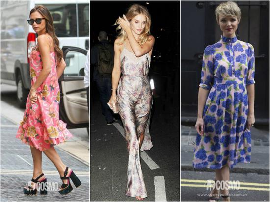 街拍中的印花連衣裙