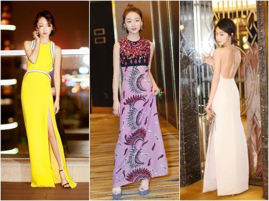 在她的礼服风格中,尝试的色彩和搭配其实还是蛮多的,各种秀性感和美腿,大露背还有高开叉,这方面你冬叔很在线哦!