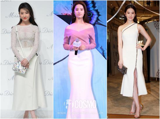 出席活动的小礼服也同样是这个路线,都是极具女人味儿的风格,在妩媚中又多了一点清新感,非常鲜明。