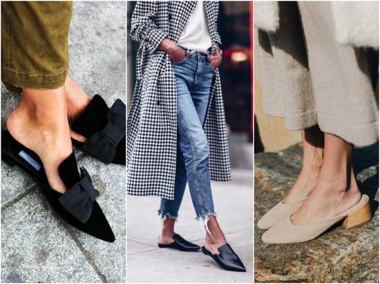 今年穆勒平底鞋的款式和风格也超级多,简约款的和带蝴蝶结有少女感的都是热门款式!