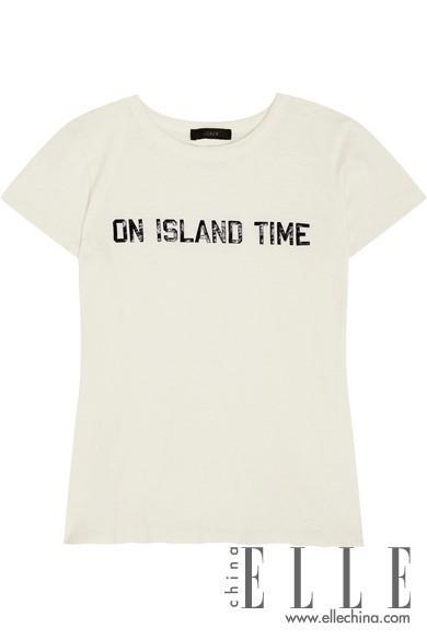 J.CREWOn Island Time 印花纯棉平纹针织 T 恤,海外电商参考价格:$59