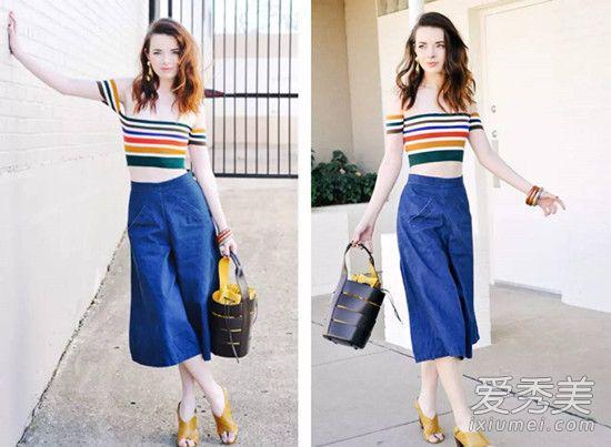 条纹T恤搭阔腿裤也是很常见的搭配组合,而这两年很流行的彩色条纹T恤相较于基础款条纹T恤,会更加吸睛别致。