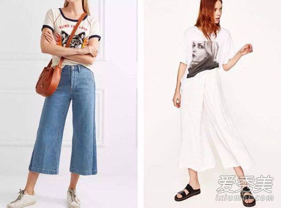 卡通印花or人像印花T恤,也可以与阔腿裤搭出很不错的效果。