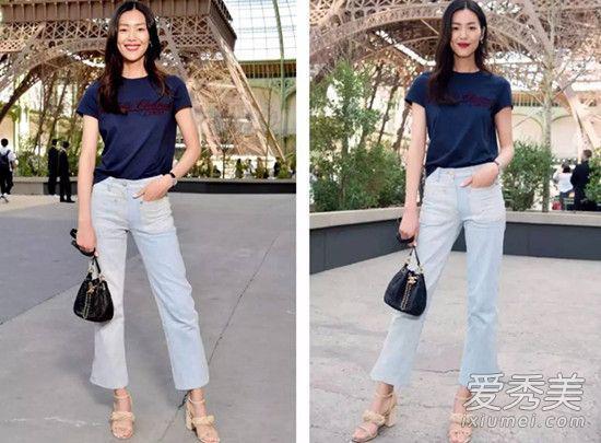 T恤+阔腿牛仔裤的极简搭配,随性又时髦赢得全不费力。