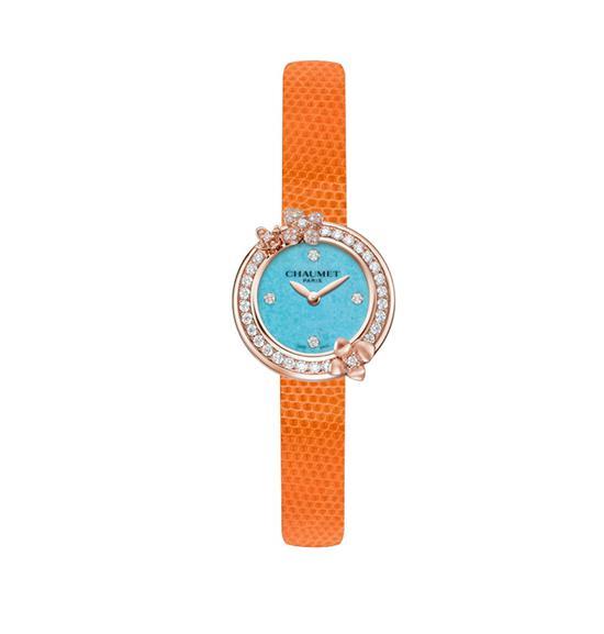 CHAUMET Hortensia Eden 绣球花伊甸园绿松石腕表,售价11万3。