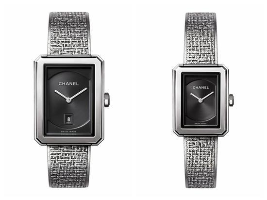 香奈儿BOY FRIEND系列Tweed腕表,图片来源于chanel。