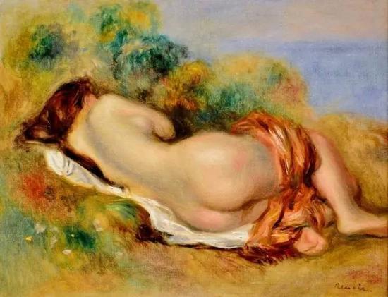 法国印象派画家雷诺阿 (Renoir) 1892年的油画《斜躺裸女》