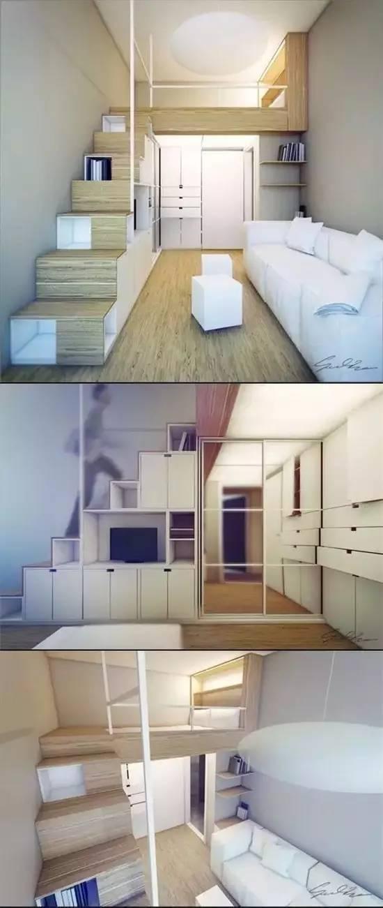 或者像学生宿舍一样,采用上边床,下边办公桌的方式,也能节省不少空间~