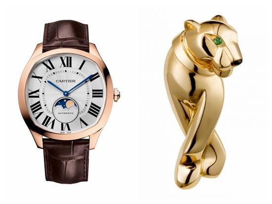 卡地亚Drive de Cartier 系列腕表、猎豹系列胸针,图片来源卡地亚。