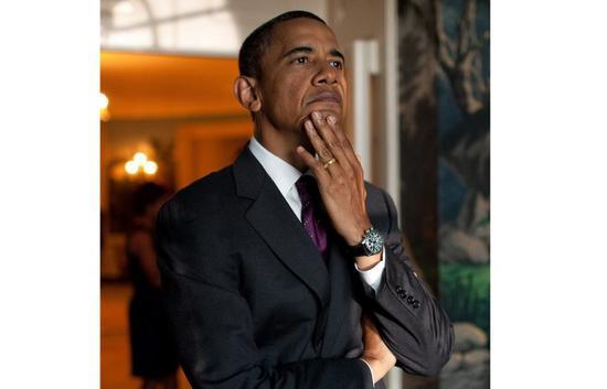 奥巴马之前佩戴的Jorg Gray计时表。