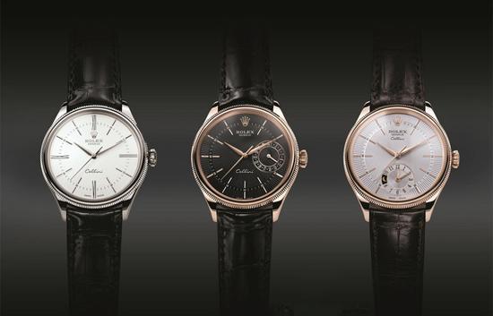 劳力士新款切利尼,从左到右,分别是大三针型号、日历型号、两地时型号。