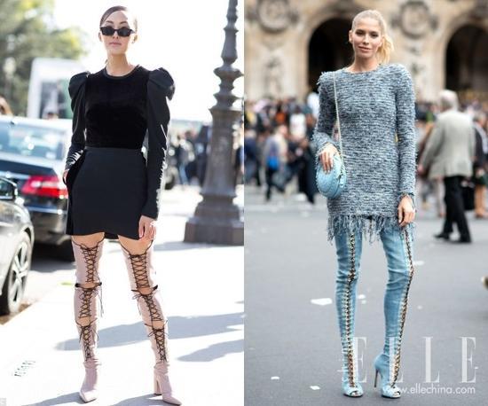 长靴还是要选易穿脱的拉链款,或者是光滑的袜靴款,这样更显得出质感来。
