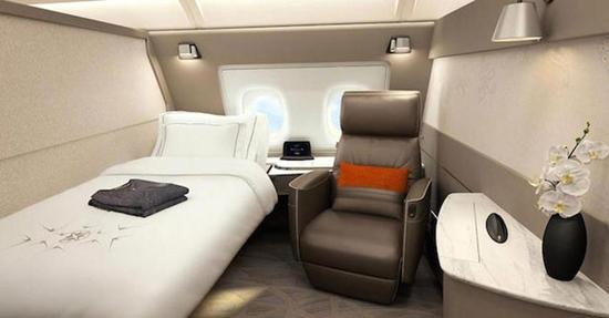 新加坡航空公司凭借全新头等舱套房,获得头等舱类别的最佳大奖。