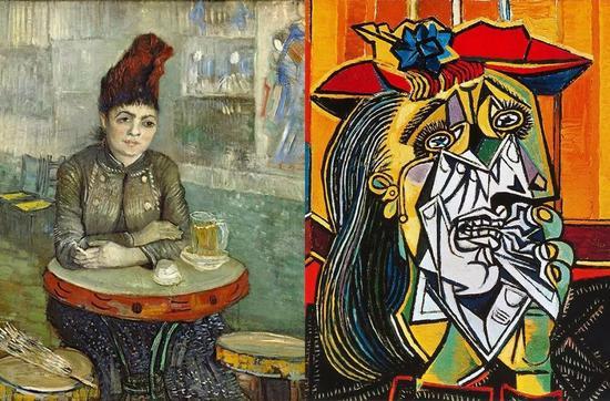 左:梵高《铃鼓咖啡屋的女人》右:毕加索《哭泣的女人》