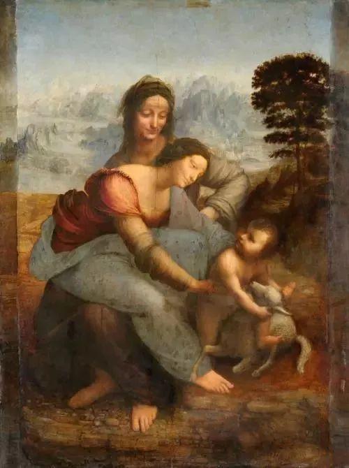 达芬奇《圣母子与圣安妮》前面三个人物是平视,后面风景则是俯视角度