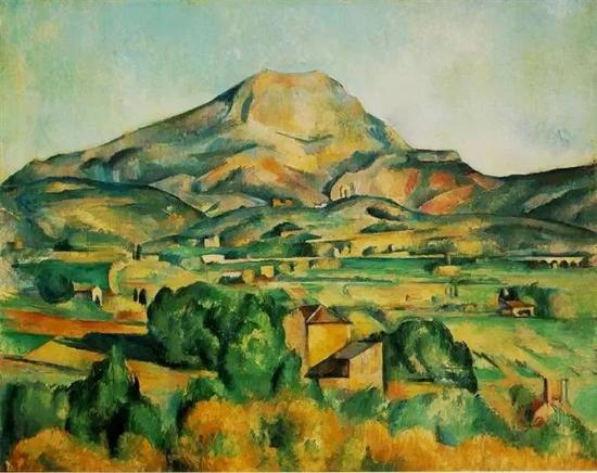"""塞尚画的""""圣维多利亚山""""在这幅画里,"""