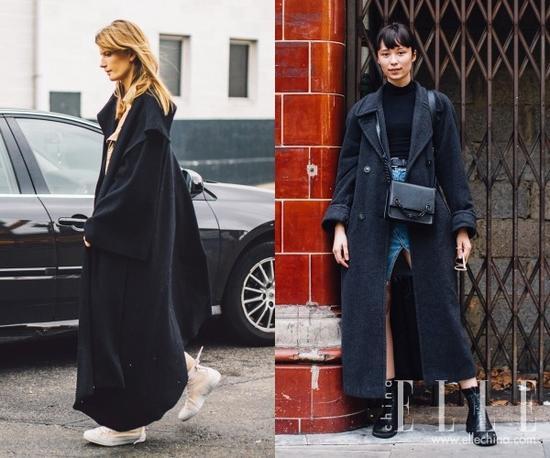 """另外,穿长大衣不要给肩颈处加太多负担,比如超长围巾和大毛领。这样只会产生你被大衣""""压垮""""的感觉。"""