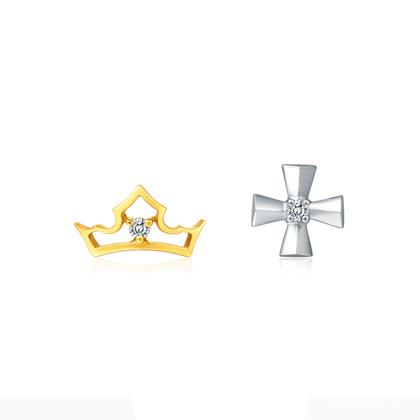 周大福迪士尼公主系列18K金钻石耳环