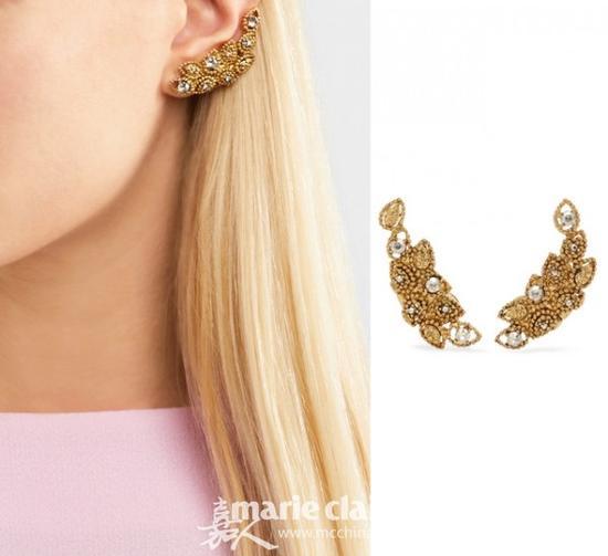 OSCAR DE LA RENTA Millegrain Petal 镀金水晶夹扣式耳环