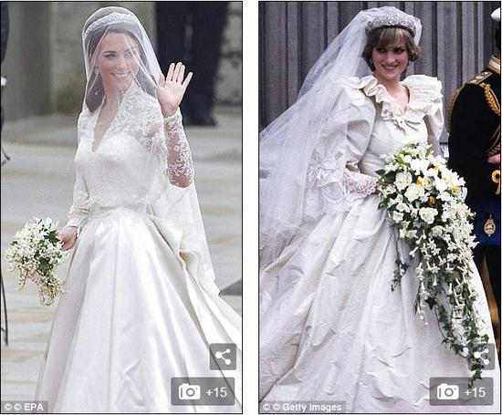 凯特和戴安娜的婚纱