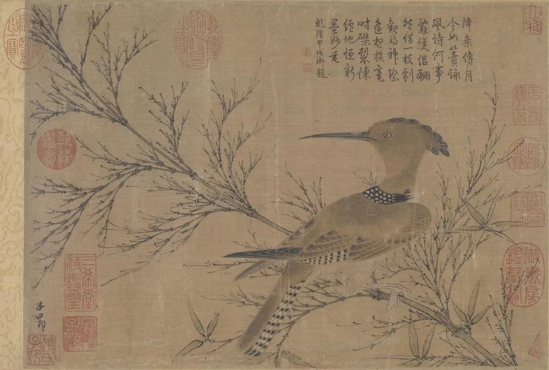 元 赵孟頫 幽篁戴胜图(局部)