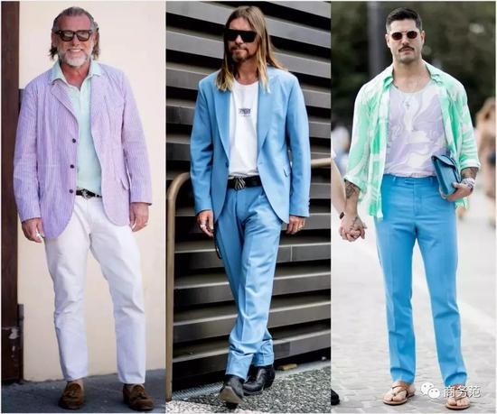 还有柔和的马卡龙色,饱和度更低,但穿不好也容易一言难尽。