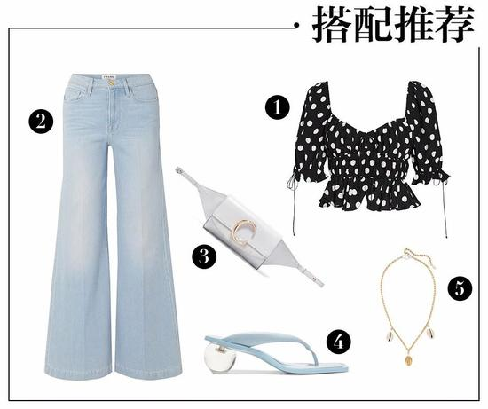 ① For Love and Lemons 黑色波点上衣