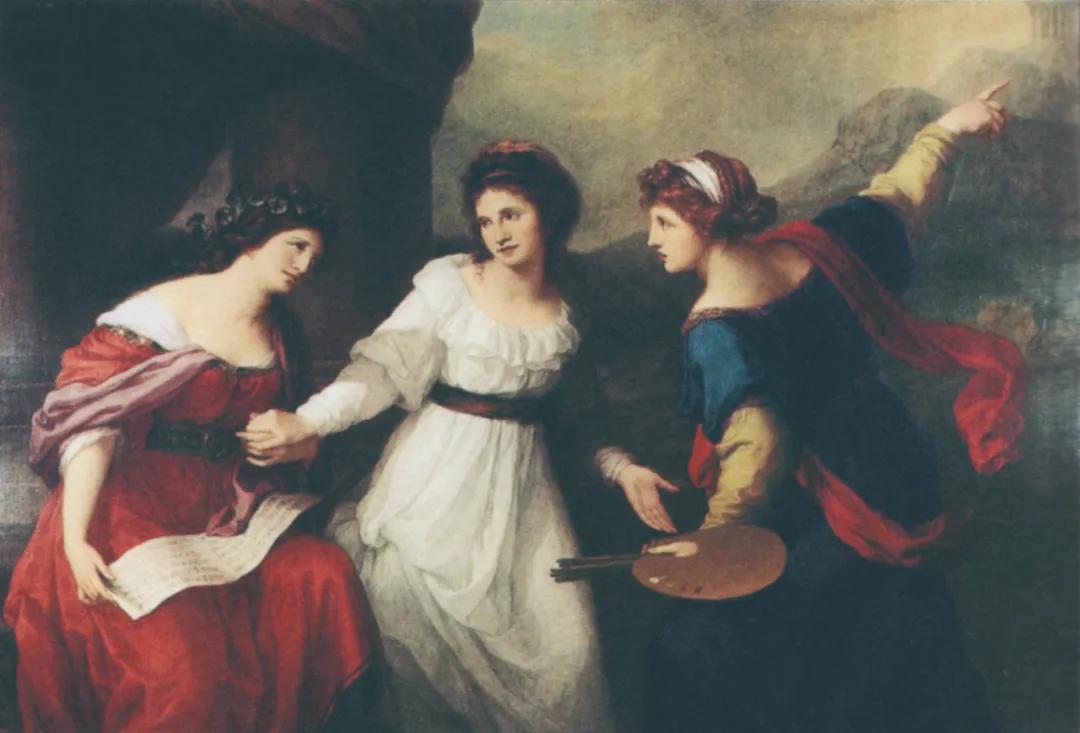 安吉莉卡·考芙蔓 在音乐和绘画艺术间犹豫不决的自画像 油画18世纪90年代初