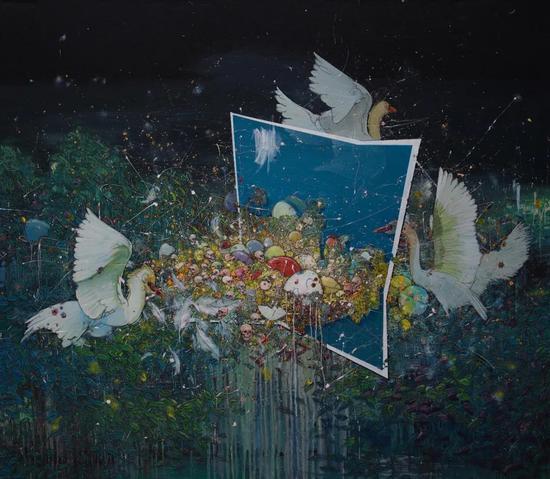浮生集—盛夏如诗,一念之间,210x240cm,布面丙烯,2017