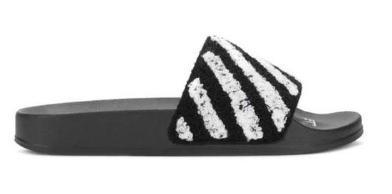 OFF-WHITE条纹拖鞋 ¥1,958