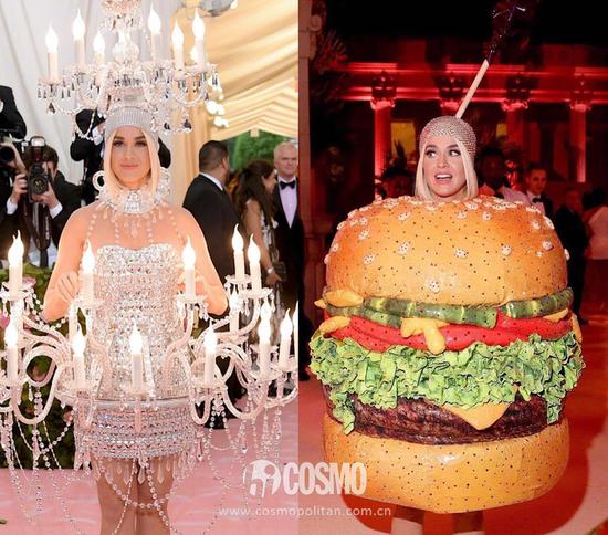 左:Katy Perry身穿Moschino吊燈裙