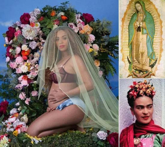 碧昂丝  与刚出生双胞胎拍大片 她的身上藏着一部艺术史碧昂丝