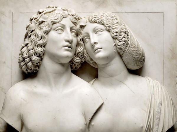"""Tullio Lombardo,酒神和阿丽亚娜 ?维也纳艺术史博物馆。""""肉体与灵魂——从多纳泰罗到米开朗基罗""""特展展品。"""