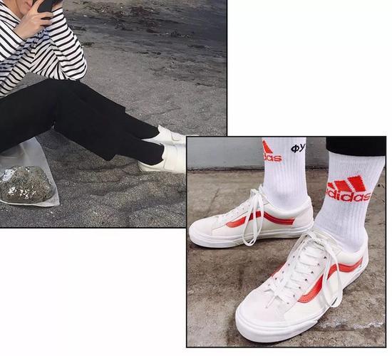 而选择和穿搭色反差大的袜子颜色