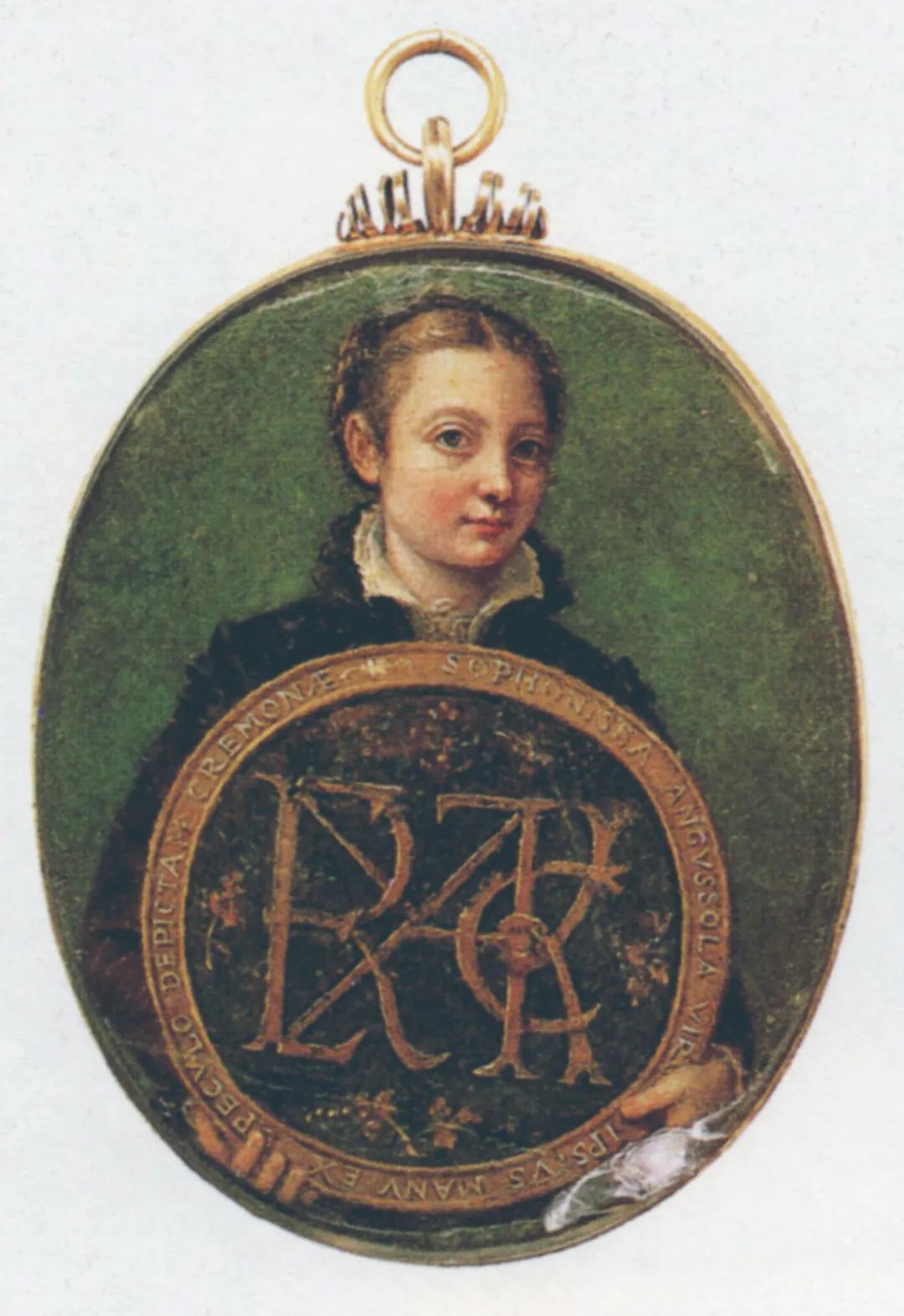 索弗尼斯瓦·安古索拉 手持奖章的自画像 水彩、光油 约1566年