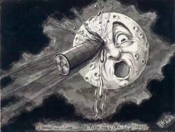 1902年,梅里爱《月球旅行记》画稿,于1930年复制。