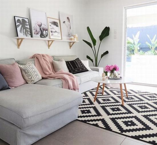 北欧风花纹地毯搭配 图片源自immyandindi.com.au