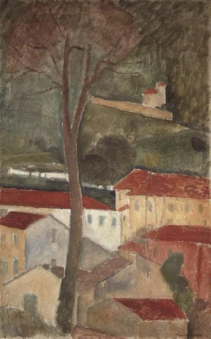 莫迪里阿尼创作于1919年的《卡涅风景》,这也是艺术家现已知仅有的四幅风景画中的一幅