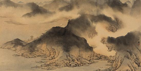 江岸云起图 纸本 78x39cm 2019年